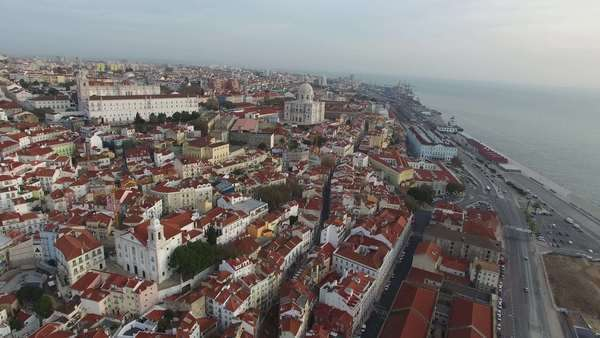 Aerial View of Alfama, Lisbon, Portugal Royalty-free stock video