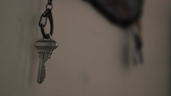 Close-up shot of a key hanging on a wall Royalty-free stock video