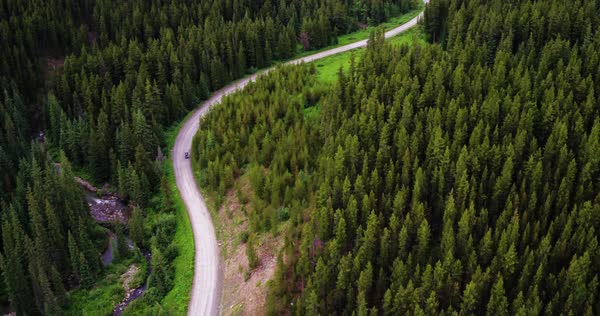 Aerial shot of a road in a valley Royalty-free stock video