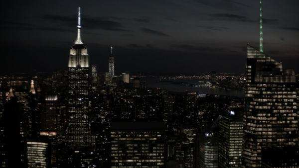 High wide shot of Manhattan at night Royalty-free stock video