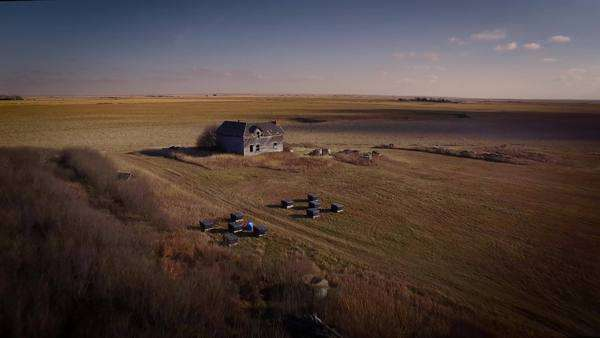 Aerial shot of an abandoned farm in the Canadian Prairies Royalty-free stock video