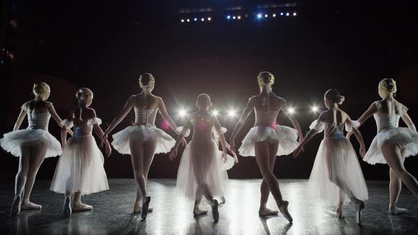 Wide slow motion panning shot of ballerinas bowing on stage Rights-managed stock video