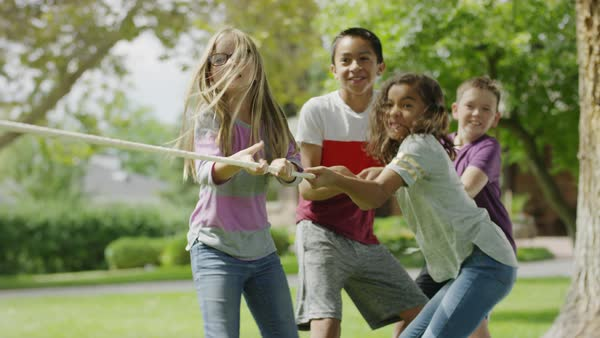 Children playing and winning tug-of-war / Provo, Utah, United States Royalty-free stock video