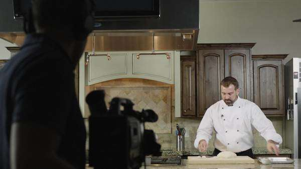 MS DS Chef cooking in studio and being filmed  Royalty-free stock video