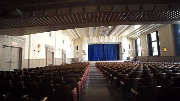 Tracking shot of school auditorium room and theater stage Rights-managed stock video