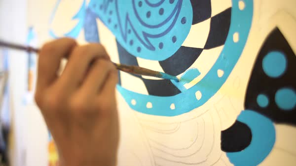 Hand-held shot of a person painting Royalty-free stock video
