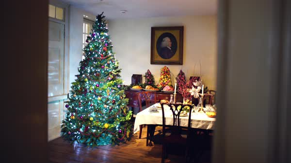 Gimbal shot of a Christmas tree in a decorated dining room shot from around the corner Royalty-free stock video