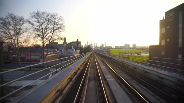 Rear view of a railway from a moving subway Royalty-free stock video