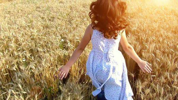 Little girl running cross the wheat field at sunset. Slow motion, shot with a high speed camera Royalty-free stock video