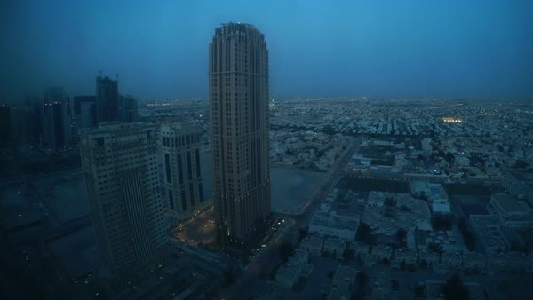Timelapse of dawn view in Doha Qatar from the sky Royalty-free stock video