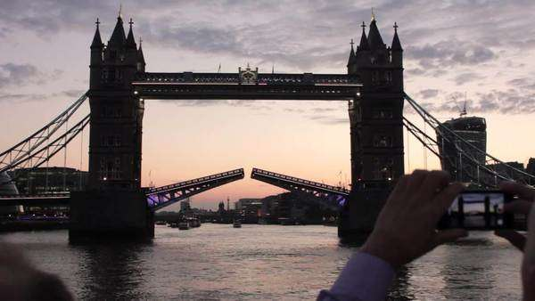 Tower Bridge opening filmed from the river Thames Royalty-free stock video