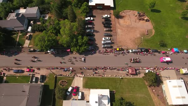 An Aerial Shot Of People Waiting For The Fourth July Parade To Begin In Oakley