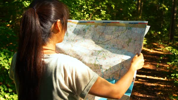 Woman reading a map on a forest trail Royalty-free stock video