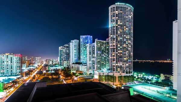 Timelapse of Downtown Miami at night Royalty-free stock video