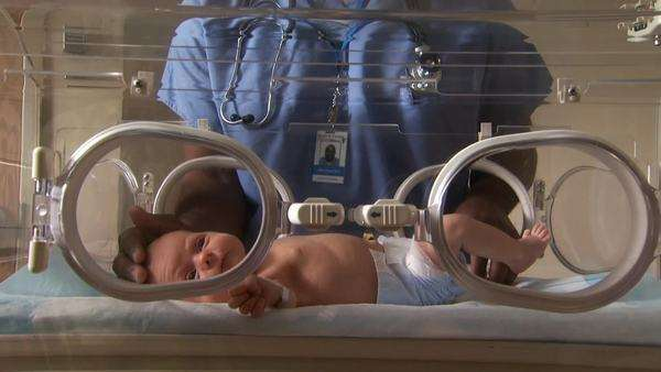 Male hospital worker caressing newborn in incubator Royalty-free stock video