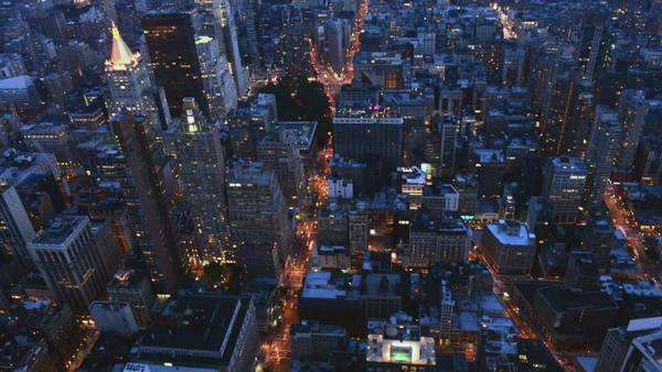 New York aerial view of midtown and downtown at night Royalty-free stock video