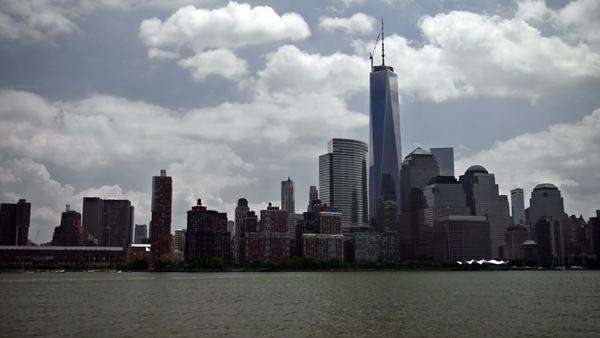 NYC lower Manhattan from Hudson Royalty-free stock video