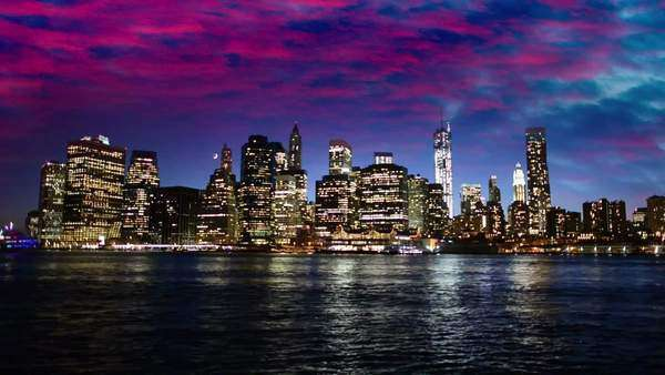 Sunset over lower Manhattan Royalty-free stock video