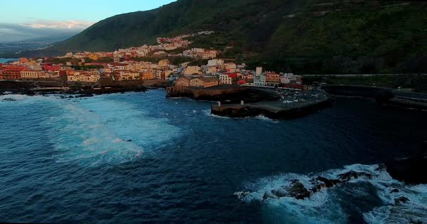 Aerial of old european city by the sea coast. Canary Islands Royalty-free stock video