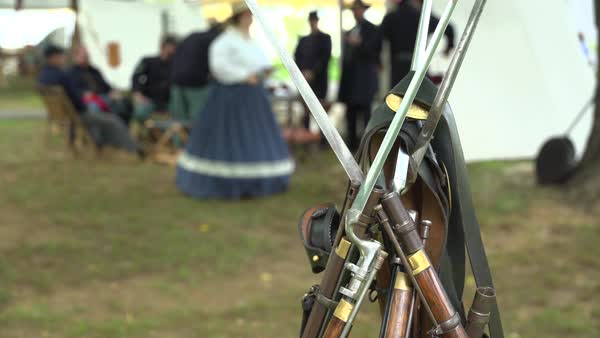 A shot of Weapons of Civil War soldiers leaning together Royalty-free stock video