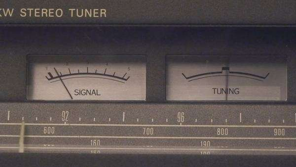 Searching for radio signal on old radio tuner Royalty-free stock video