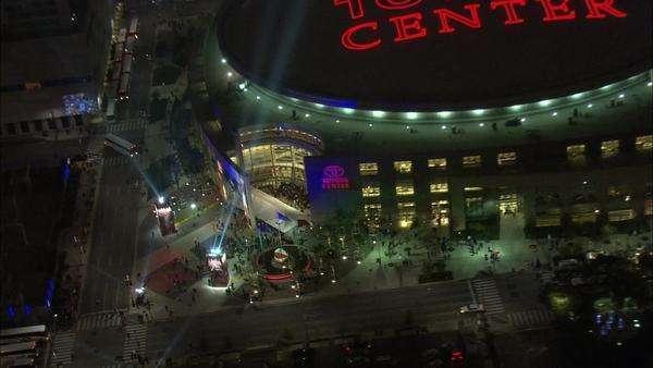 Houston Toyota Center Night. An Aerial View Of Houston, Texasu0027 Premier  Events Arena