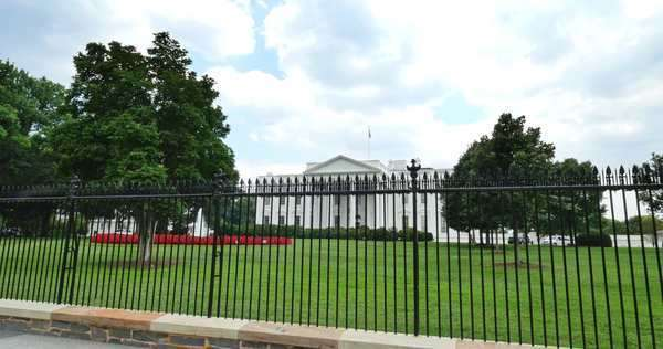 WASHINGTON, D.C. - July, 2015 - An establishing shot of the White House on Pennsylvania Avenue in Washington, D.C. Royalty-free stock video