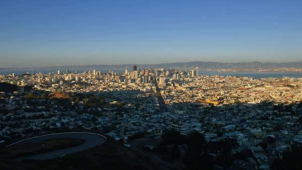 SAN FRANCISCO - Circa October, 2015 - A dusk view of San Francisco as seen from Twin Peaks.  Royalty-free stock video