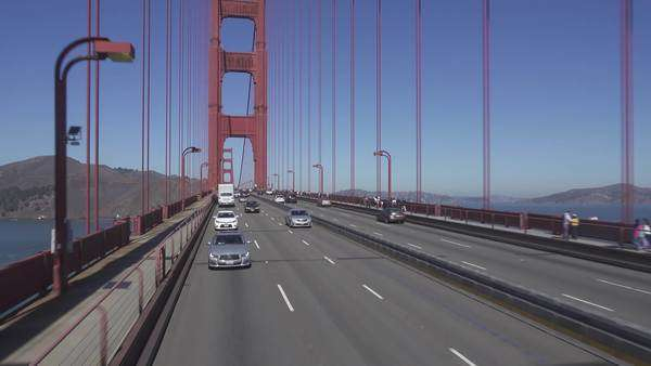 SAN FRANCISCO, CA - Circa October, 2015 - A rear view of driving over the Golden Gate Bridge in San Francisco, CA. Royalty-free stock video