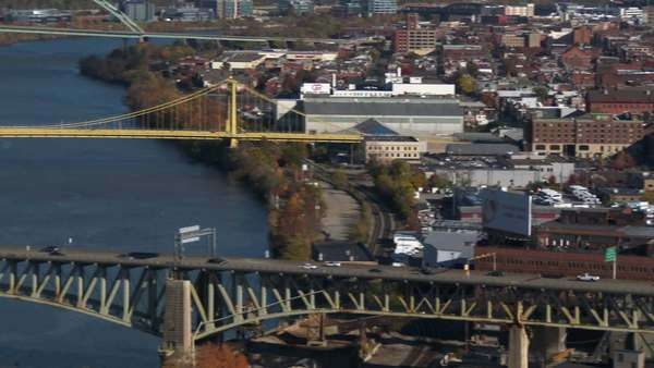 A slow pan from the South Side to the Allegheny County Jail on Pittsburgh's shore. Royalty-free stock video
