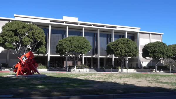 A daytime establishing shot of the Beverly Hills courthouse.  	 Royalty-free stock video