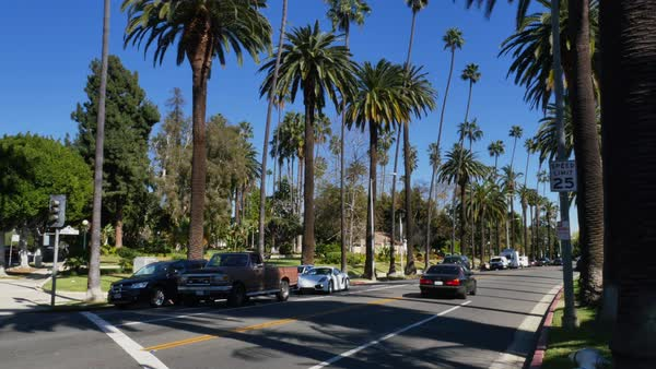 An intersection near Will Rogers Memorial Park in the upscale Beverly Hills area of Los Angeles.  	 Royalty-free stock video
