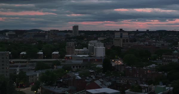 A dramatic day to night time lapse of Boston's South End.  	 Royalty-free stock video