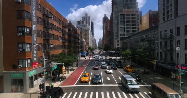 NEW YORK - Circa July, 2016 - A view up 2nd Avenue in Manhattan as seen from the Roosevelt Tramway.  	 Royalty-free stock video
