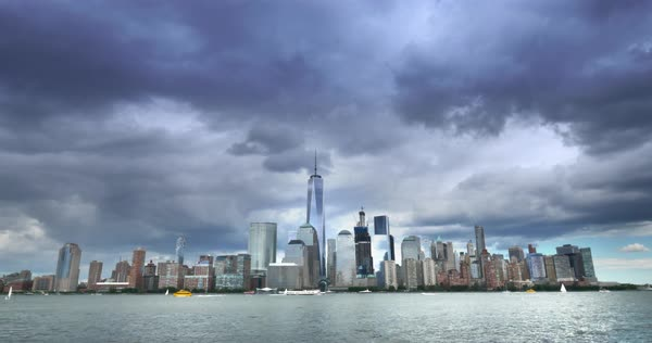NEW YORK - Circa July, 2016 - A timelapse view of the skyline of lower Manhattan with the new Freedom Tower standing tall.  	 Royalty-free stock video