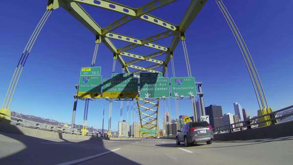 A view of Pittsburgh as you emerge from the Fort Pitt Tunnels. Royalty-free stock video