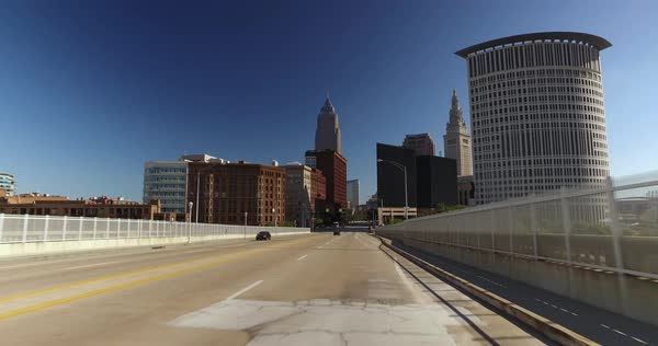 CLEVELAND - Circa September, 2016 - A driver's perspective on the Detroit-Superior Bridge over the Cuyahoga River in downtown Cleveland, Ohio. Royalty-free stock video