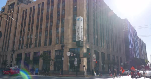 SAN FRANCISCO, CA - Circa October, 2016 - A daytime establishing shot of Twitter headquarters on Market Street in downtown San Francisco.  	 Royalty-free stock video