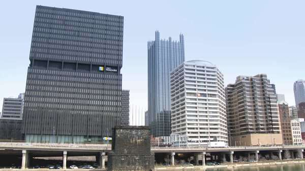 Passing by the city of Pittsburgh, Pennsylvania. As seen from the Monongahela River. Royalty-free stock video