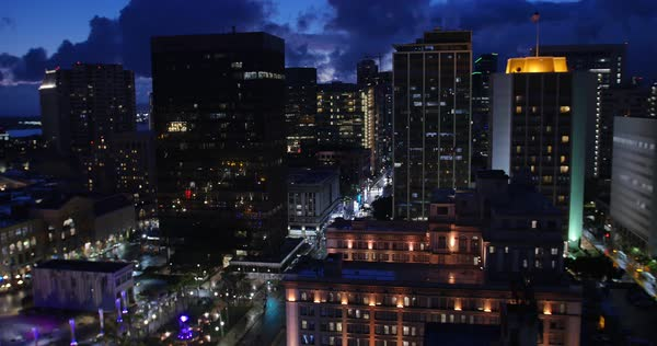 A high angle view of the San Diego skyline at nighttime.	 	 Royalty-free stock video