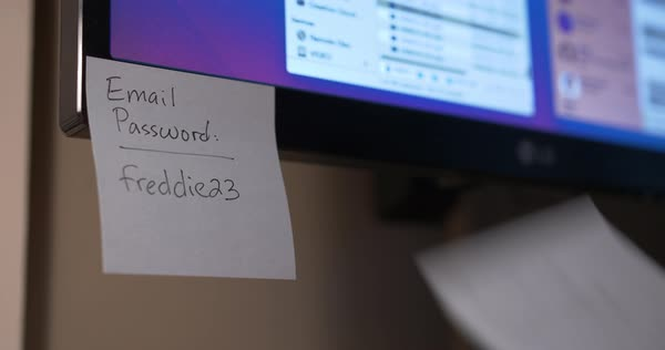 A person removes Post-It password reminders from a computer monitor. Royalty-free stock video