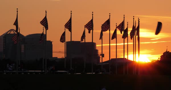 A dramatic sunset view over the American Flags at the Washington Monument with the skyline of Arlington, Virginia in the distance.  Royalty-free stock video
