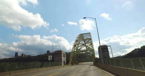 A forward driving perspective on the West End Bridge in Pittsburgh. Royalty-free stock video