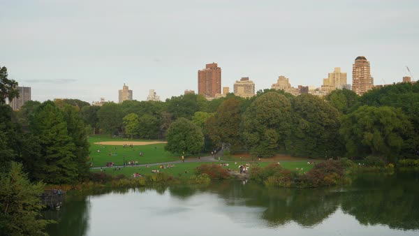 People enjoy Central Park on an early Autumn evening with the iconic New York City apartment buildings in the distance.   Royalty-free stock video