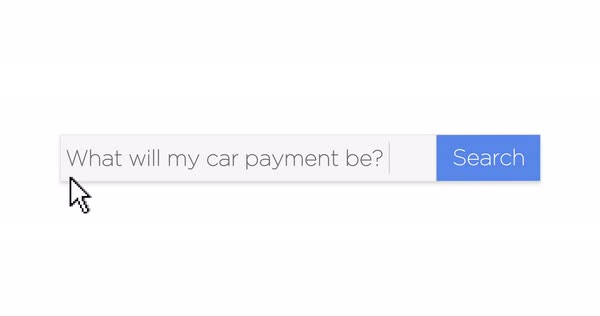 "A graphical Google-style web search box asking the question, ""What will my car payment be?"" With optional luma matte.  Royalty-free stock video"