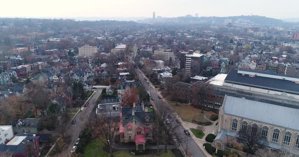 A daytime winter overcast aerial establishing shot of a typical Pittsburgh Shadyside neighborhood. Royalty-free stock video