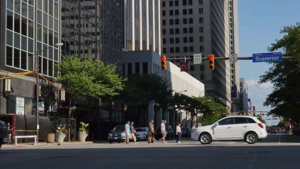 CLEVELAND, OH - Circa August, 2014 - An establishing shot of the traffic and buildings on Superior Avenue in downtown Cleveland, OH. Royalty-free stock video