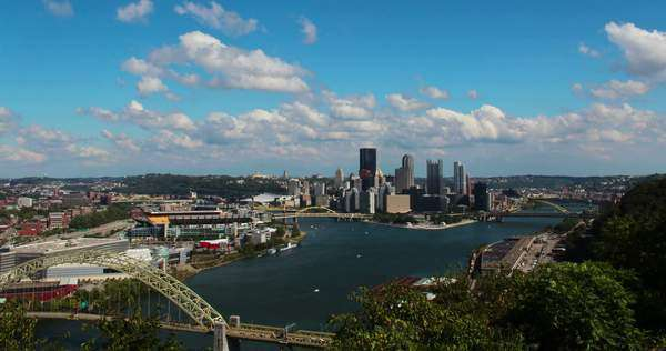 A timelapse shot of the Pittsburgh city skyline as seen from the West End Overlook on a early Fall afternoon Royalty-free stock video