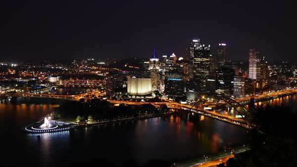A dramatic dusk to night timelapse of the Pittsburgh skyline as seen from atop Mount Washington. Royalty-free stock video