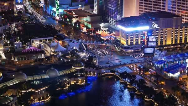 LAS VEGAS, Circa April, 2015 - An aerial time lapse shot of the busy activity on the Las Vegas Strip at night. Royalty-free stock video